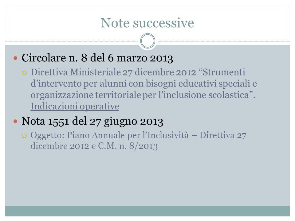 Note successive Circolare n. 8 del 6 marzo 2013 Direttiva Ministeriale 27 dicembre 2012 Strumenti dintervento per alunni con bisogni educativi special
