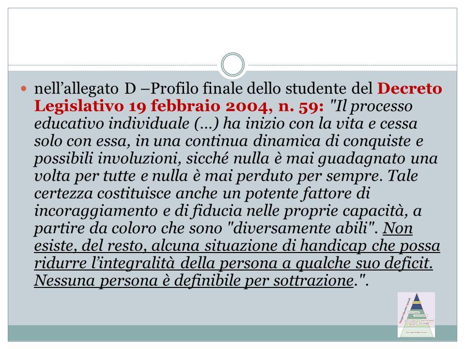 nellallegato D –Profilo finale dello studente del Decreto Legislativo 19 febbraio 2004, n. 59: