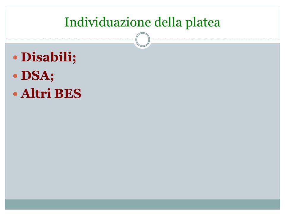 Individuazione della platea Disabili; DSA; Altri BES