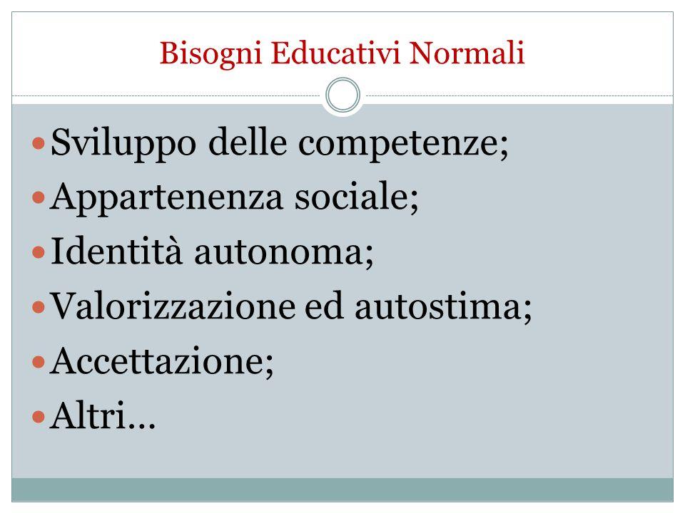 Bisogni Educativi Normali Sviluppo delle competenze; Appartenenza sociale; Identità autonoma; Valorizzazione ed autostima; Accettazione; Altri…