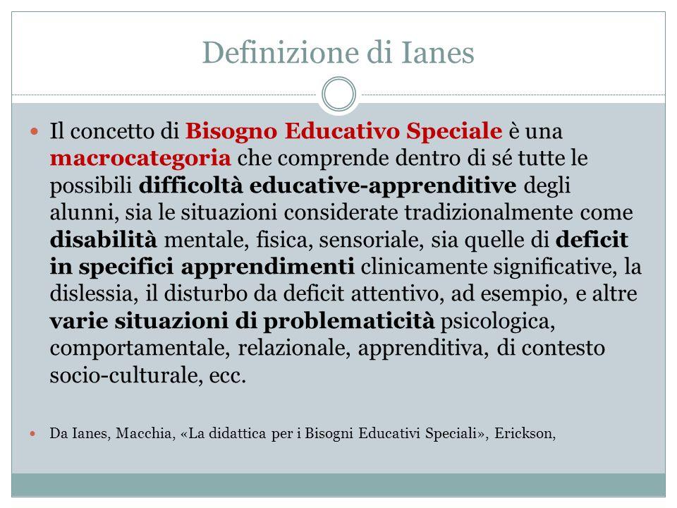 Definizione di Ianes Il concetto di Bisogno Educativo Speciale è una macrocategoria che comprende dentro di sé tutte le possibili difficoltà educative