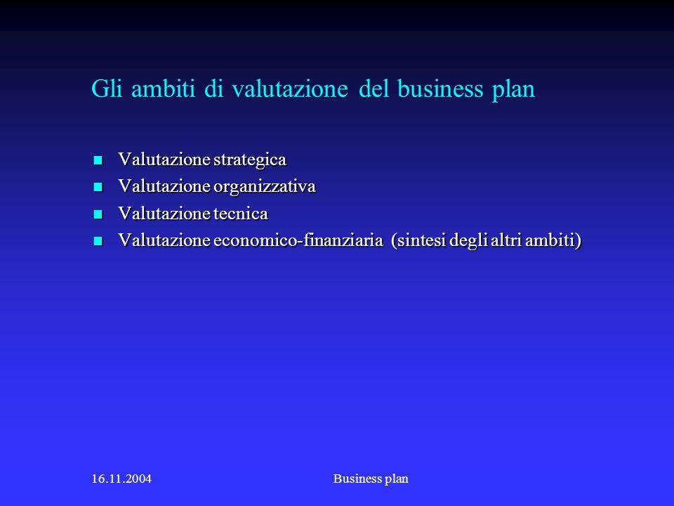 16.11.2004Business plan Gli ambiti di valutazione del business plan Valutazione strategica Valutazione strategica Valutazione organizzativa Valutazione organizzativa Valutazione tecnica Valutazione tecnica Valutazione economico-finanziaria (sintesi degli altri ambiti) Valutazione economico-finanziaria (sintesi degli altri ambiti)