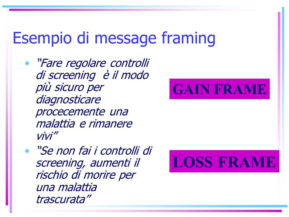 Esempio di message framing Fare regolare controlli di screening è il modo più sicuro per diagnosticare procecemente una malattia e rimanere vivi Se no