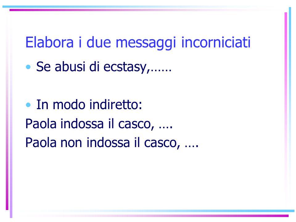 Elabora i due messaggi incorniciati Se abusi di ecstasy,…… In modo indiretto: Paola indossa il casco, …. Paola non indossa il casco, ….