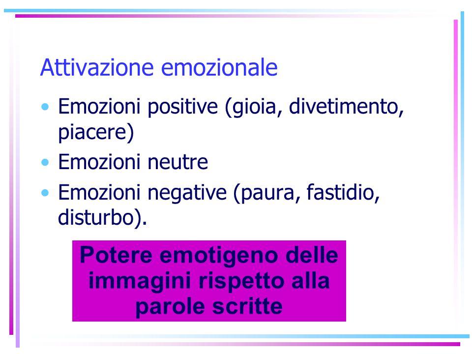 Attivazione emozionale Emozioni positive (gioia, divetimento, piacere) Emozioni neutre Emozioni negative (paura, fastidio, disturbo). Potere emotigeno