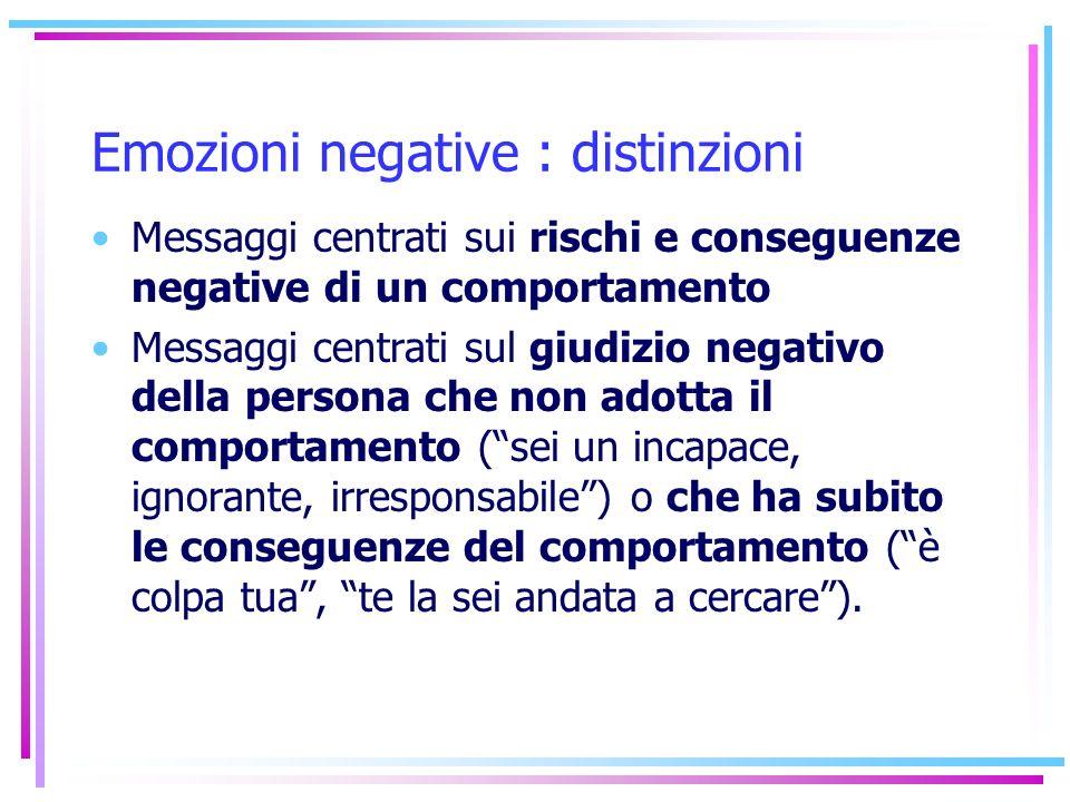 Emozioni negative : distinzioni Messaggi centrati sui rischi e conseguenze negative di un comportamento Messaggi centrati sul giudizio negativo della