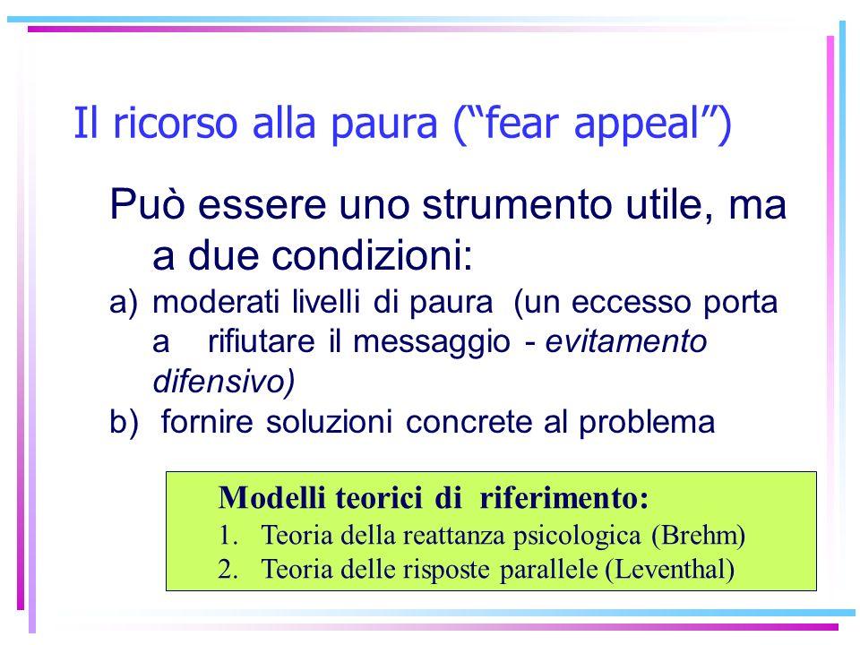 Può essere uno strumento utile, ma a due condizioni: a)moderati livelli di paura (un eccesso porta a rifiutare il messaggio - evitamento difensivo) b)