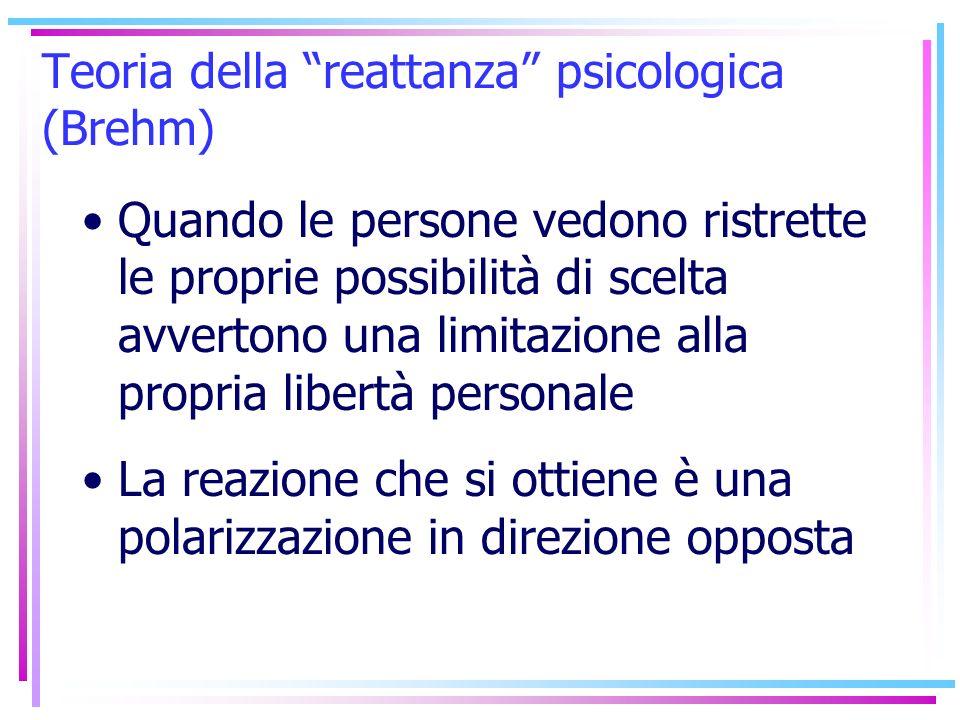 Teoria della reattanza psicologica (Brehm) Quando le persone vedono ristrette le proprie possibilità di scelta avvertono una limitazione alla propria