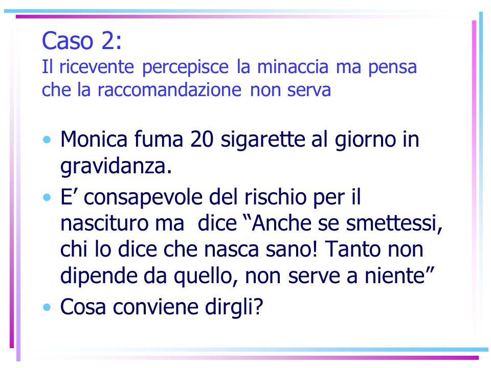 Caso 2: Il ricevente percepisce la minaccia ma pensa che la raccomandazione non serva Monica fuma 20 sigarette al giorno in gravidanza. E consapevole