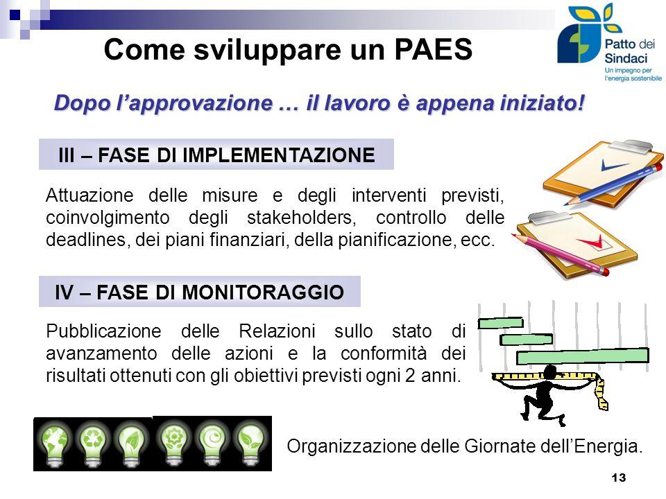 Come sviluppare un PAES III – FASE DI IMPLEMENTAZIONE IV – FASE DI MONITORAGGIO Pubblicazione delle Relazioni sullo stato di avanzamento delle azioni