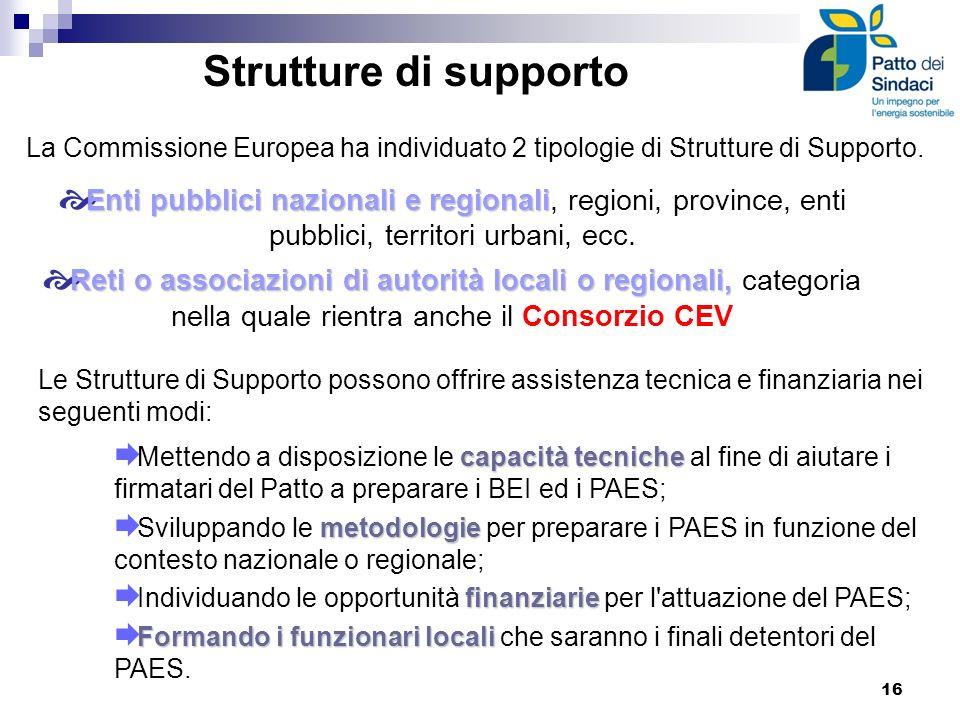 Strutture di supporto La Commissione Europea ha individuato 2 tipologie di Strutture di Supporto. Enti pubblici nazionali e regionali Enti pubblici na