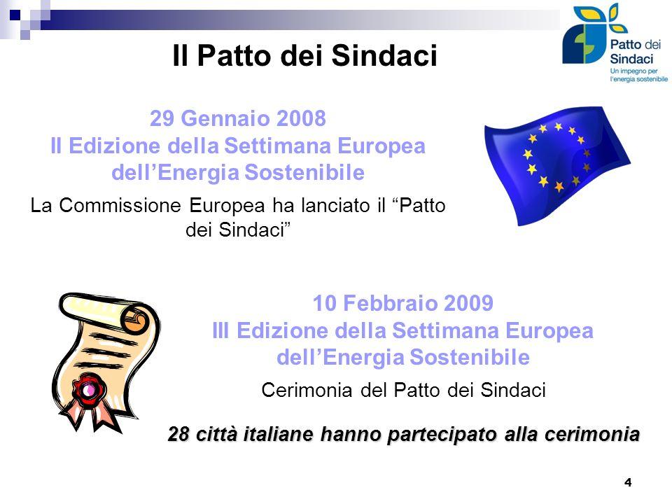 Il Patto dei Sindaci 29 Gennaio 2008 II Edizione della Settimana Europea dellEnergia Sostenibile La Commissione Europea ha lanciato il Patto dei Sinda