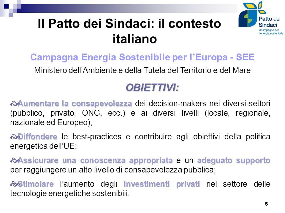 Il Patto dei Sindaci: il contesto italiano Campagna Energia Sostenibile per lEuropa - SEE Ministero dellAmbiente e della Tutela del Territorio e del M