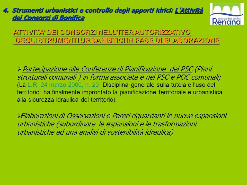 4.Strumenti urbanistici e controllo degli apporti idrici: LAttività dei Consorzi di Bonifica Partecipazione alle Conferenze di Pianificazione dei PSC
