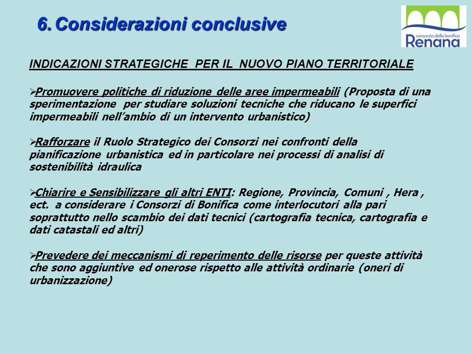 6.Considerazioni conclusive INDICAZIONI STRATEGICHE PER IL NUOVO PIANO TERRITORIALE Promuovere politiche di riduzione delle aree impermeabili (Propost