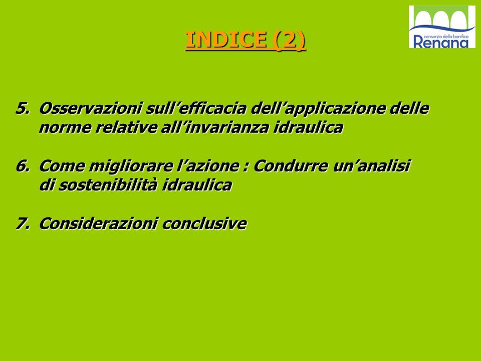 5.Osservazioni sullefficacia dellapplicazione delle norme relative allinvarianza idraulica 6.Come migliorare lazione : Condurre unanalisi di sostenibi
