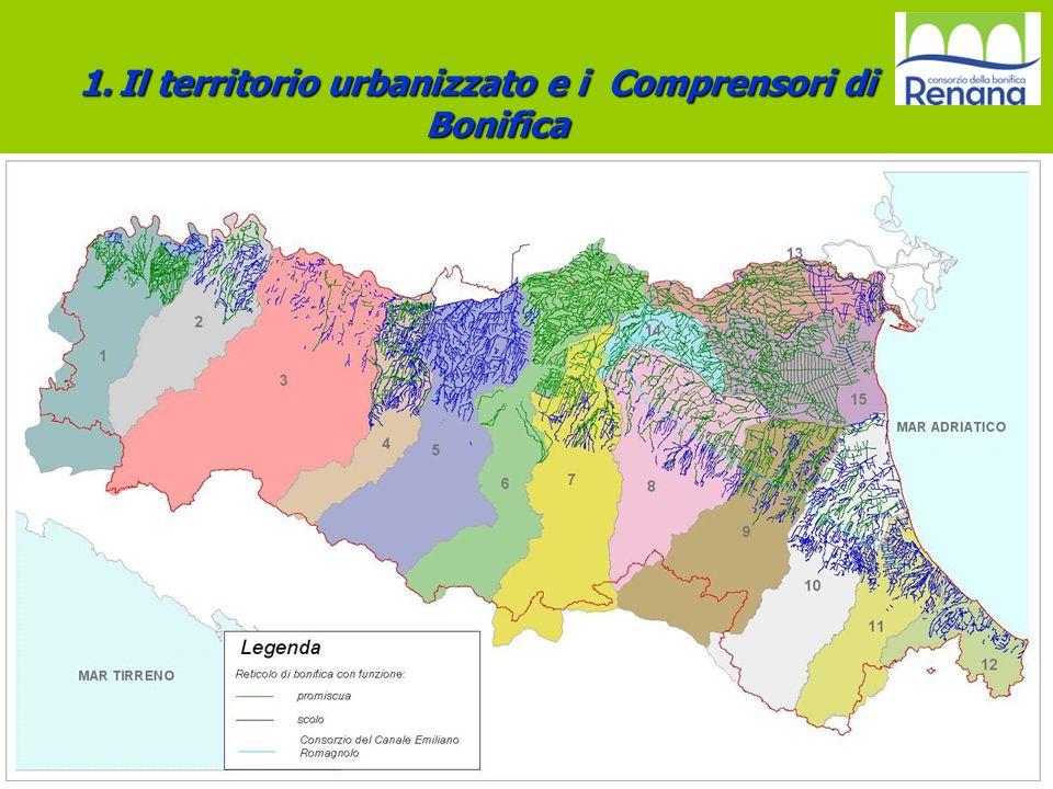 Reticolo Regionale di Bonifica VARIAZIONE AREE URBANIZZATE 1976- 2003