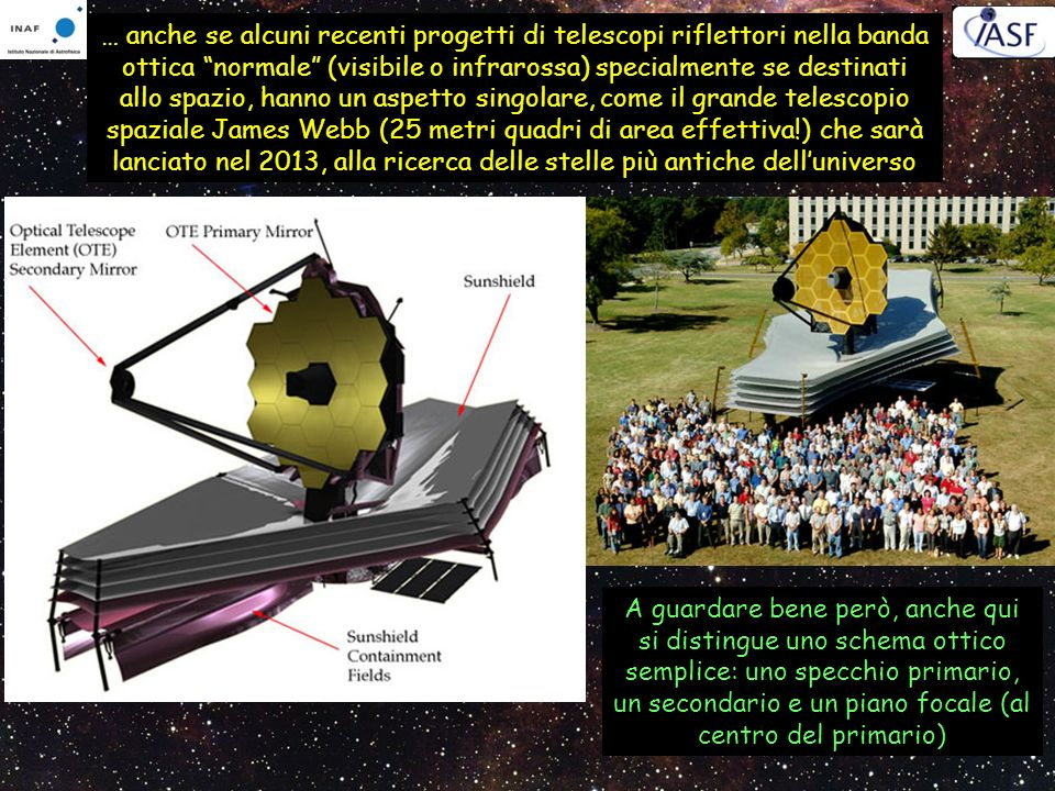 … anche se alcuni recenti progetti di telescopi riflettori nella banda ottica normale (visibile o infrarossa) specialmente se destinati allo spazio, h