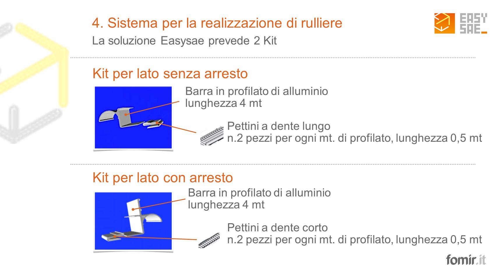 fomir.it Barra in profilato di alluminio lunghezza 4 mt 2 Pettini a dente lungo n.2 pezzi per ogni mt. di profilato, lunghezza 0,5 mt Barra in profila