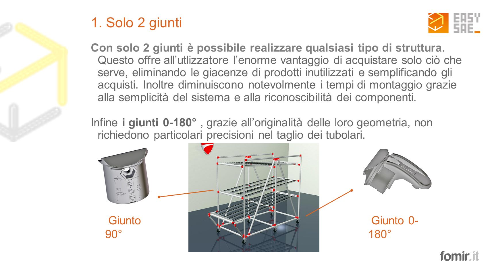 fomir.it 1. Solo 2 giunti Con solo 2 giunti è possibile realizzare qualsiasi tipo di struttura. Questo offre allutlizzatore lenorme vantaggio di acqui
