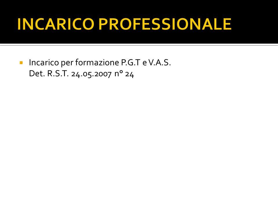 INCARICO PROFESSIONALE Incarico per formazione P.G.T e V.A.S. Det. R.S.T. 24.05.2007 n° 24