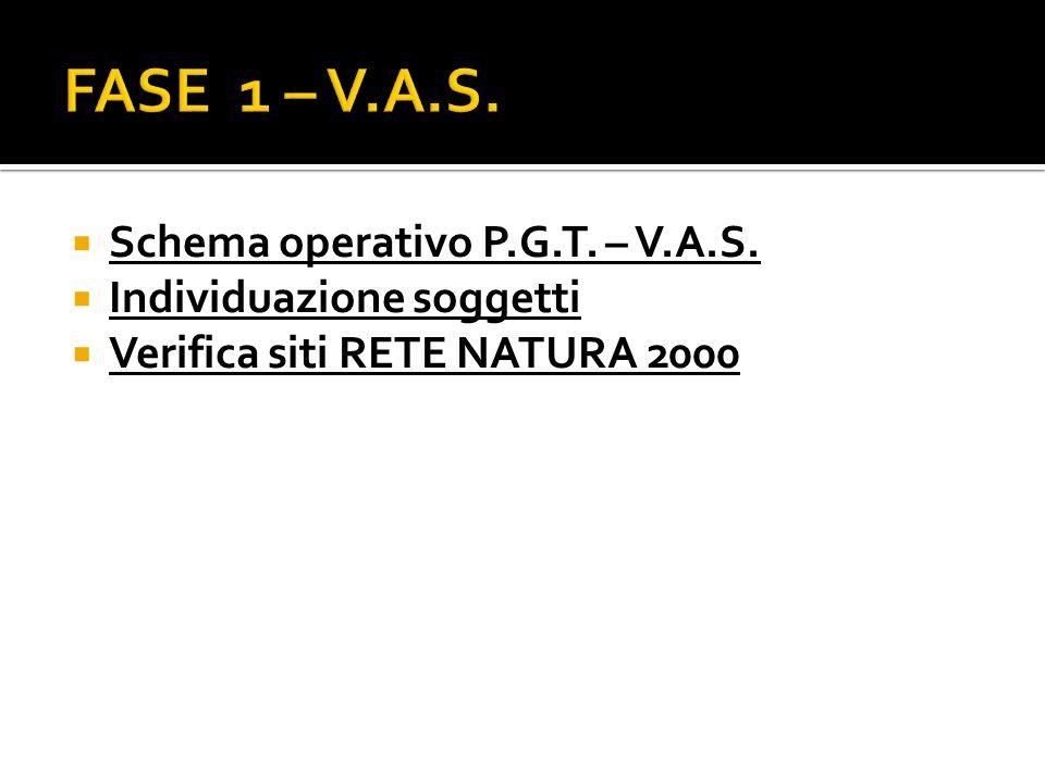 Schema operativo P.G.T. – V.A.S. Individuazione soggetti Verifica siti RETE NATURA 2000