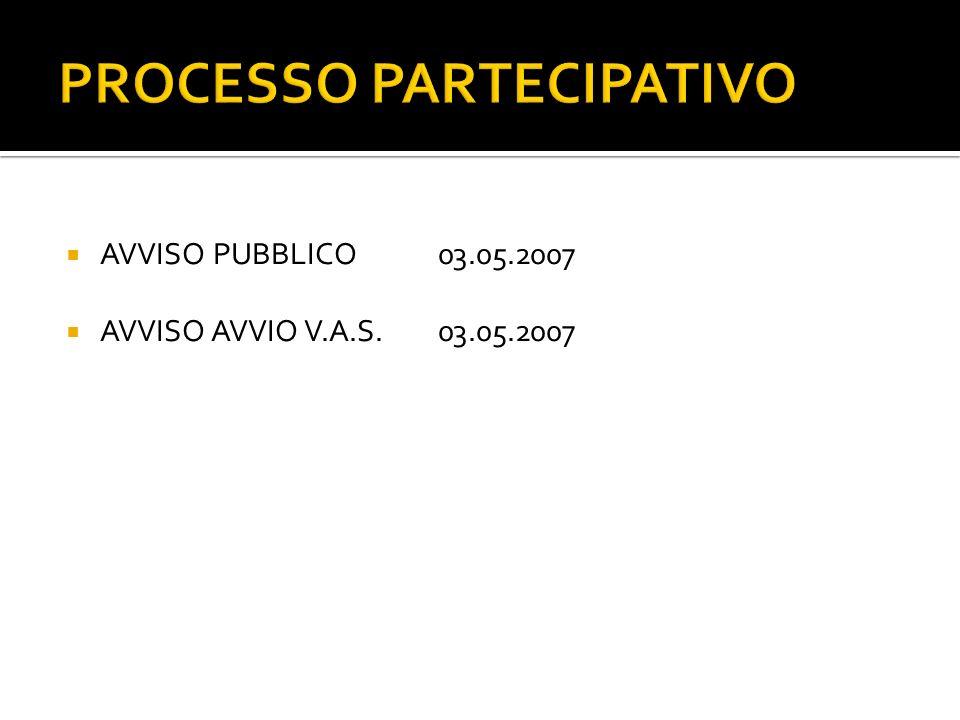 PROCESSO PARTECIPATIVO AVVISO PUBBLICO03.05.2007 AVVISO AVVIO V.A.S.03.05.2007