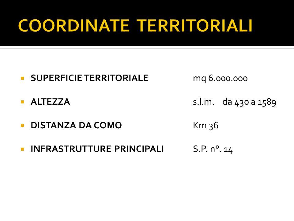 SUPERFICIE TERRITORIALEmq 6.000.000 ALTEZZA s.l.m.da 430 a 1589 DISTANZA DA COMOKm 36 INFRASTRUTTURE PRINCIPALIS.P.