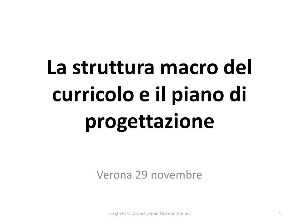 La struttura macro del curricolo e il piano di progettazione Verona 29 novembre 1sergio bassi Associazione Docenti Italiani