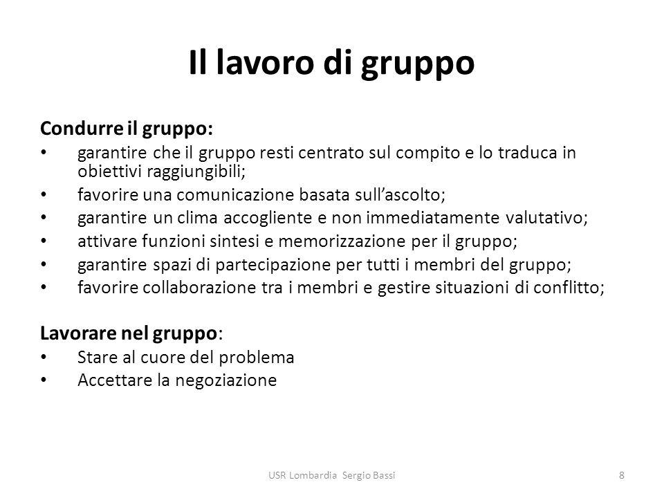 Il lavoro di gruppo Condurre il gruppo: garantire che il gruppo resti centrato sul compito e lo traduca in obiettivi raggiungibili; favorire una comun