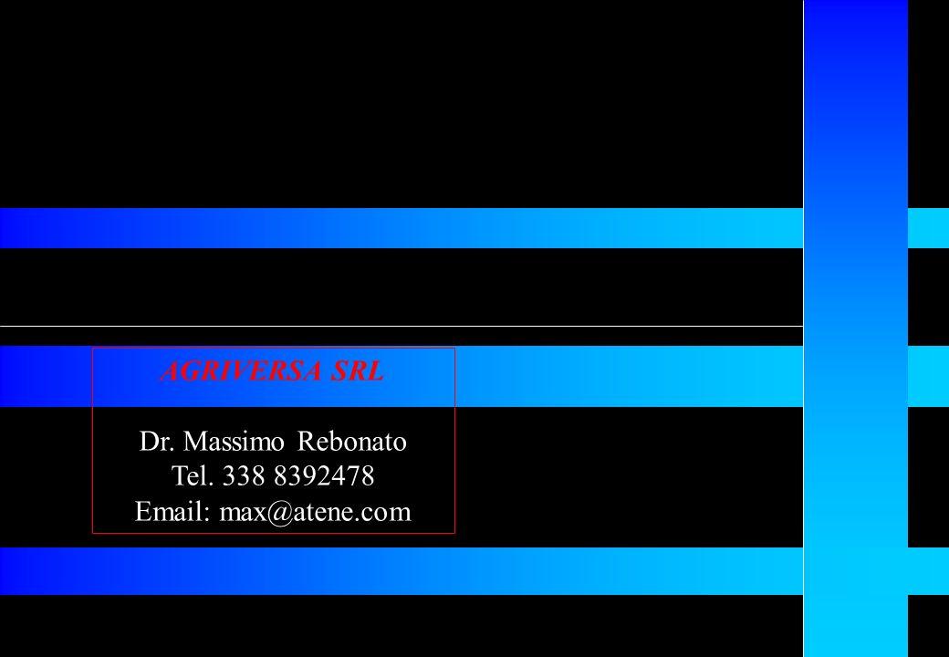 AGRIVERSA SRL Dr. Massimo Rebonato Tel. 338 8392478 Email: max@atene.com