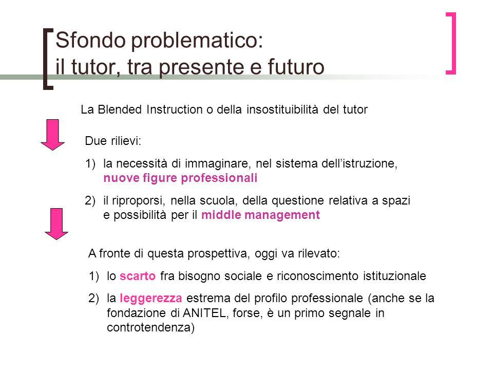 Sfondo problematico: il tutor, tra presente e futuro La Blended Instruction o della insostituibilità del tutor Due rilievi: 1)la necessità di immagina