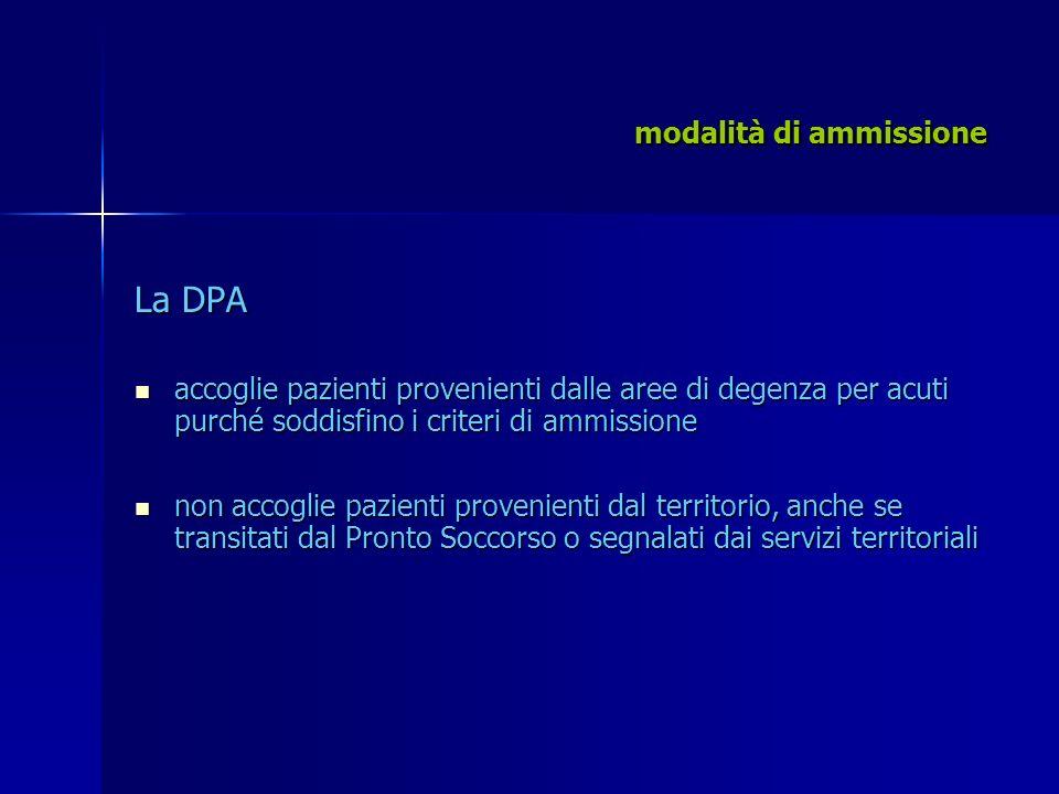 modalità di ammissione La DPA accoglie pazienti provenienti dalle aree di degenza per acuti purché soddisfino i criteri di ammissione accoglie pazient