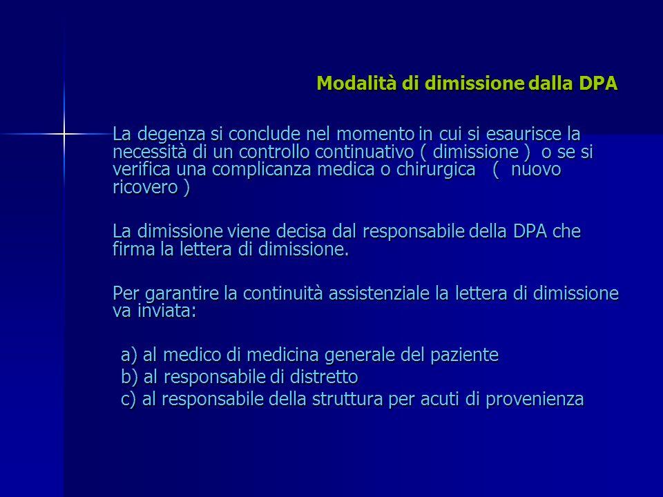 Modalità di dimissione dalla DPA La degenza si conclude nel momento in cui si esaurisce la necessità di un controllo continuativo ( dimissione ) o se