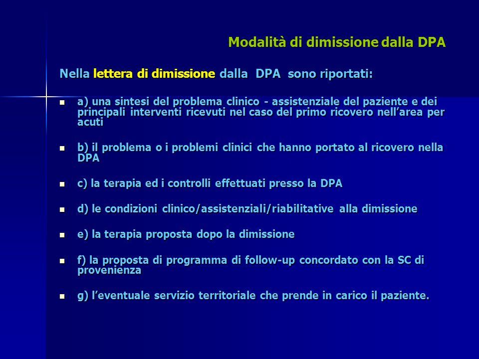 Modalità di dimissione dalla DPA Nella lettera di dimissione dalla DPA sono riportati: a) una sintesi del problema clinico - assistenziale del pazient