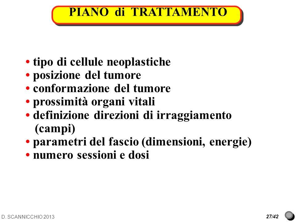 PIANO di TRATTAMENTO D. SCANNICCHIO 2013 27/42 tipo di cellule neoplastiche posizione del tumore conformazione del tumore prossimità organi vitali def