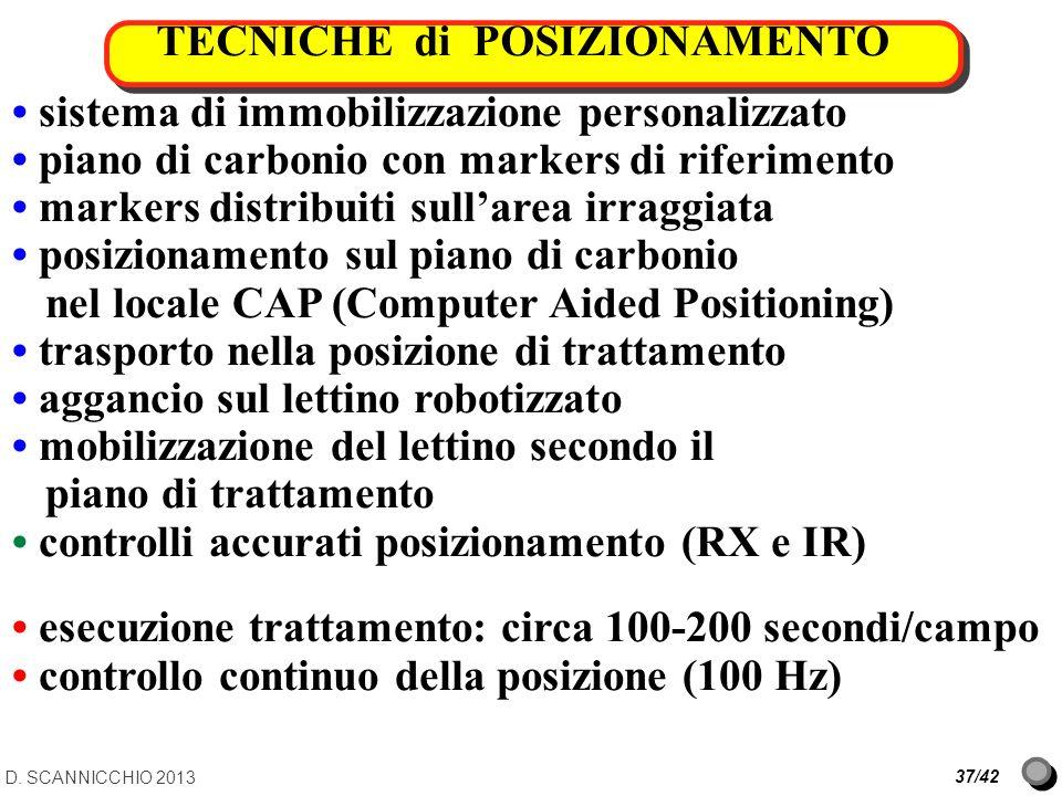 TECNICHE di POSIZIONAMENTO D. SCANNICCHIO 2013 37/42 sistema di immobilizzazione personalizzato piano di carbonio con markers di riferimento markers d