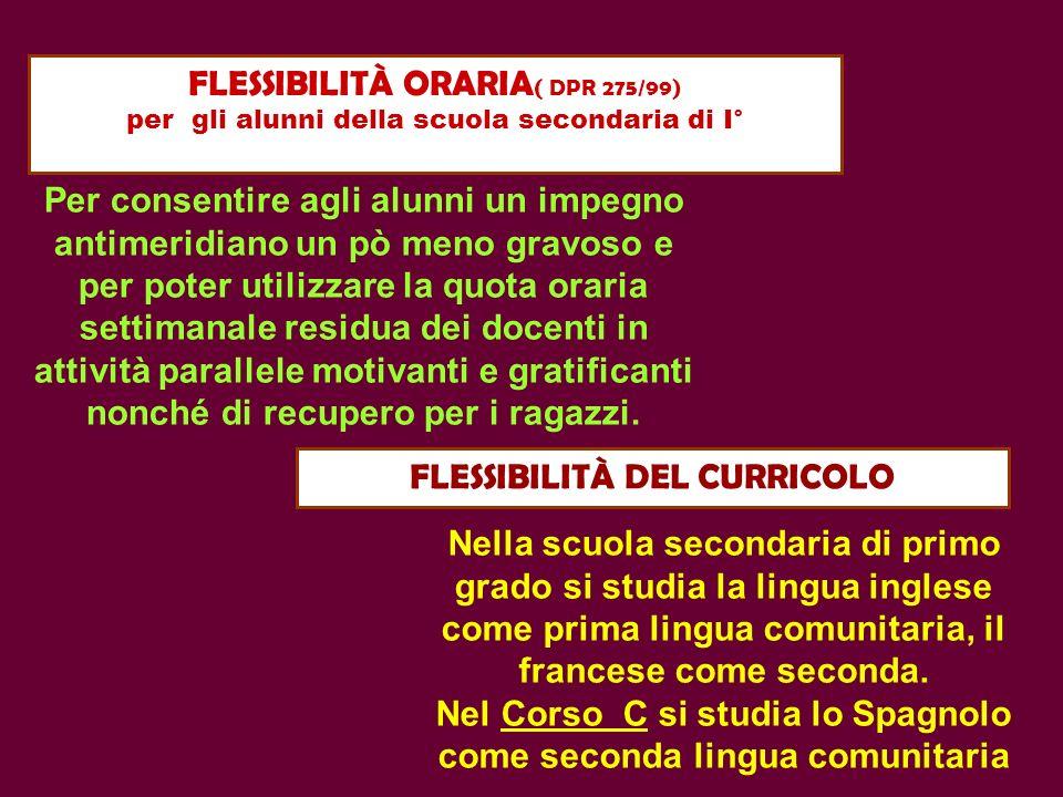FLESSIBILITÀ ORARIA ( DPR 275/99) per gli alunni della scuola secondaria di I° FLESSIBILITÀ DEL CURRICOLO Per consentire agli alunni un impegno antime