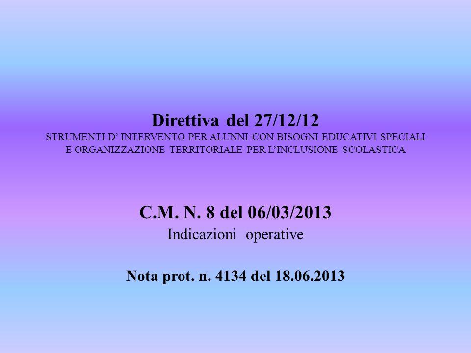 Direttiva del 27/12/12 STRUMENTI D INTERVENTO PER ALUNNI CON BISOGNI EDUCATIVI SPECIALI E ORGANIZZAZIONE TERRITORIALE PER LINCLUSIONE SCOLASTICA C.M.
