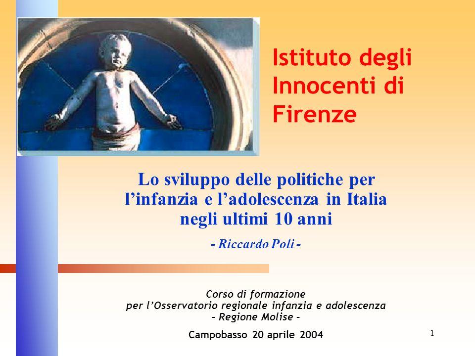 1 Lo sviluppo delle politiche per linfanzia e ladolescenza in Italia negli ultimi 10 anni - Riccardo Poli - Corso di formazione per lOsservatorio regi