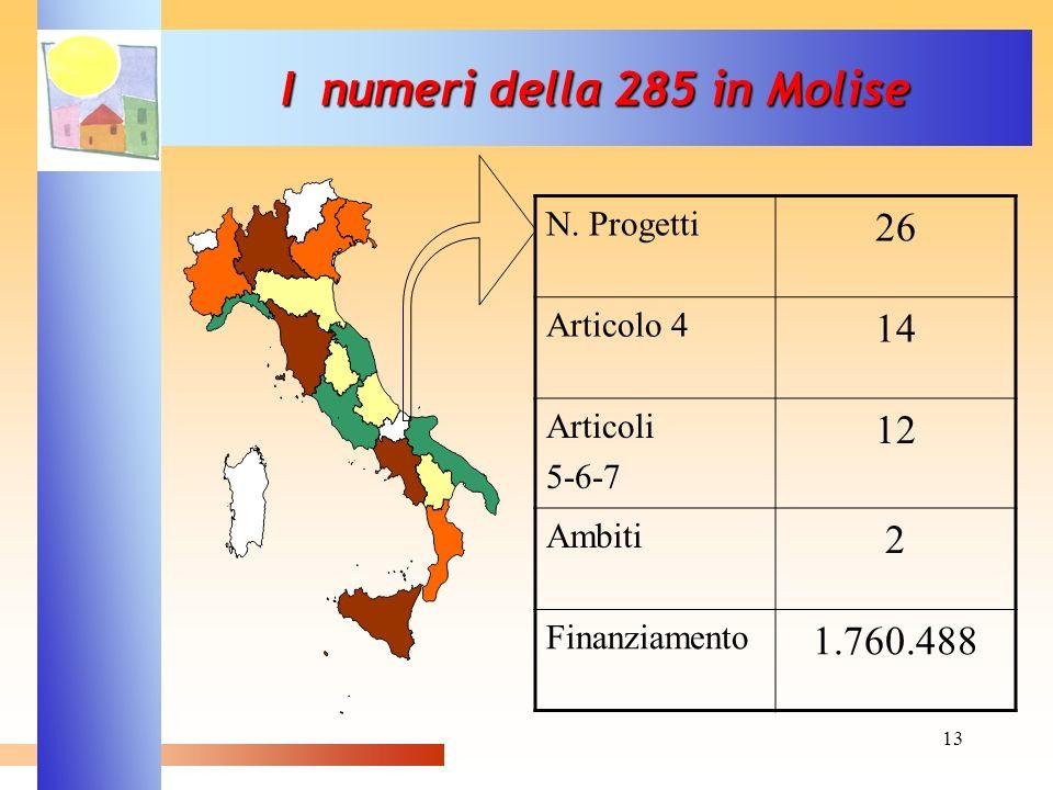13 I numeri della 285 in Molise N. Progetti 26 Articolo 4 14 Articoli 5-6-7 12 Ambiti 2 Finanziamento 1.760.488