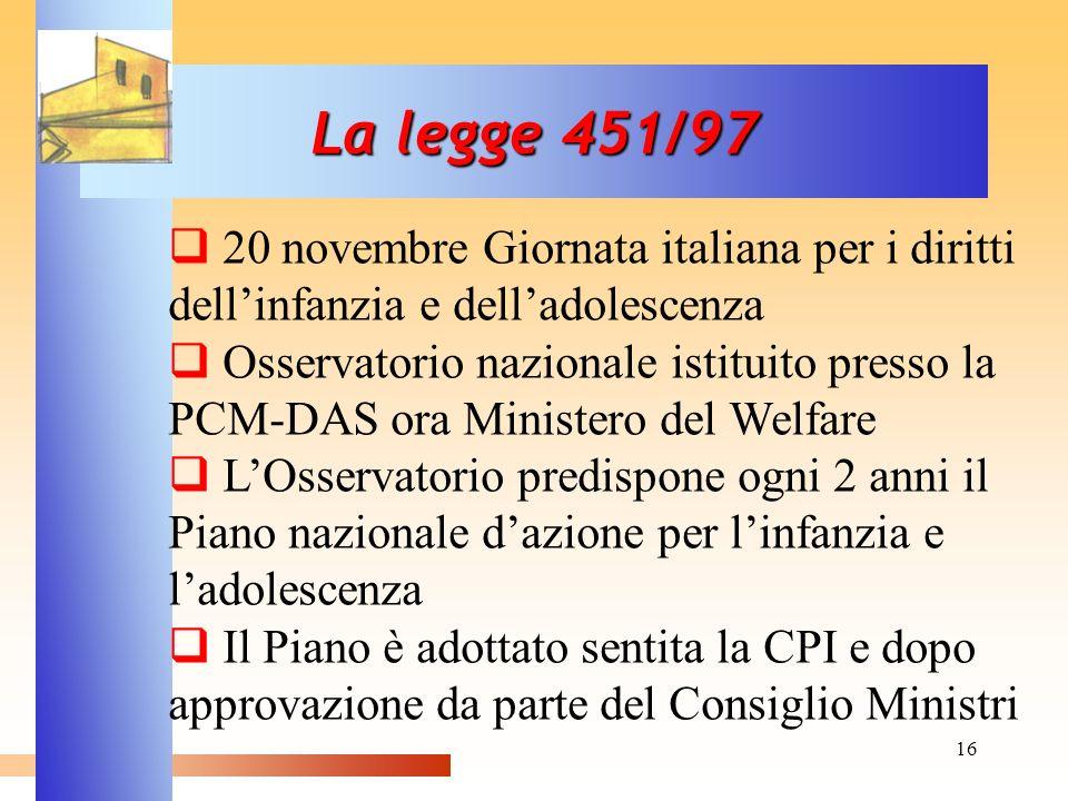 16 La legge 451/97 20 novembre Giornata italiana per i diritti dellinfanzia e delladolescenza Osservatorio nazionale istituito presso la PCM-DAS ora M