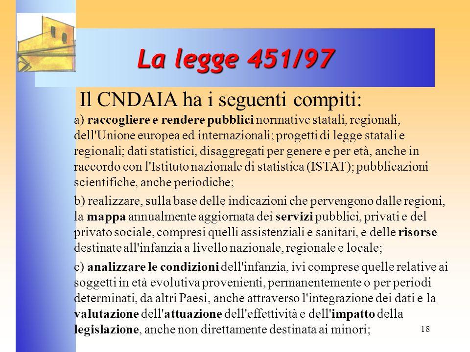 18 La legge 451/97 Il CNDAIA ha i seguenti compiti: a) raccogliere e rendere pubblici normative statali, regionali, dell'Unione europea ed internazion