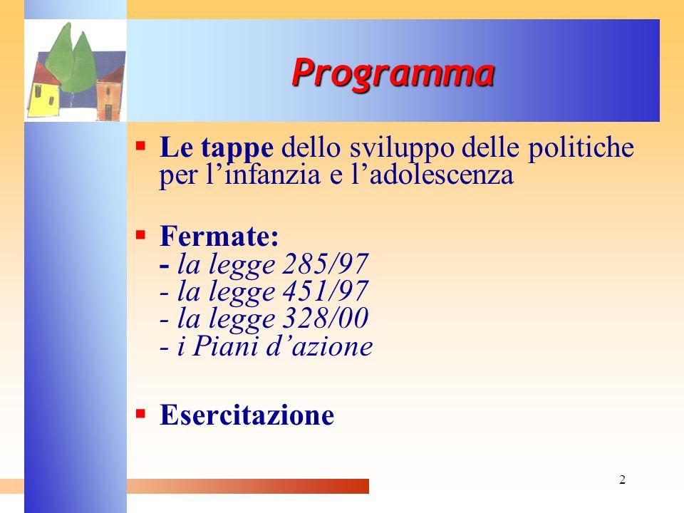 2 Le tappe dello sviluppo delle politiche per linfanzia e ladolescenza Fermate: - la legge 285/97 - la legge 451/97 - la legge 328/00 - i Piani dazion