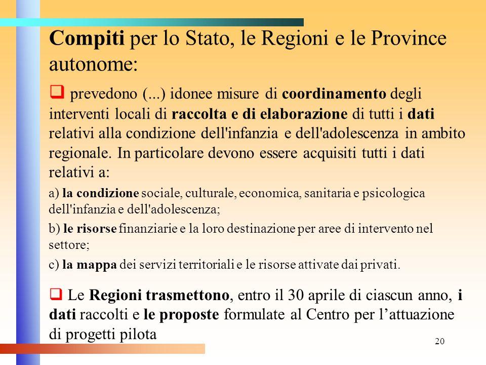 20 Compiti per lo Stato, le Regioni e le Province autonome: prevedono (...) idonee misure di coordinamento degli interventi locali di raccolta e di el