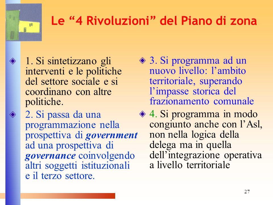 27 Le 4 Rivoluzioni del Piano di zona 1. Si sintetizzano gli interventi e le politiche del settore sociale e si coordinano con altre politiche. 2. Si