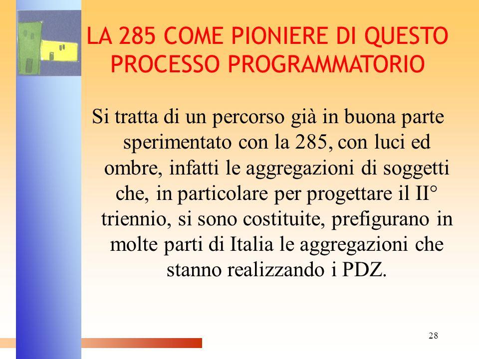 28 LA 285 COME PIONIERE DI QUESTO PROCESSO PROGRAMMATORIO Si tratta di un percorso già in buona parte sperimentato con la 285, con luci ed ombre, infa