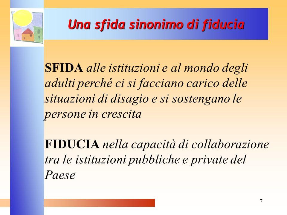 7 Una sfida sinonimo di fiducia SFIDA alle istituzioni e al mondo degli adulti perché ci si facciano carico delle situazioni di disagio e si sostengan