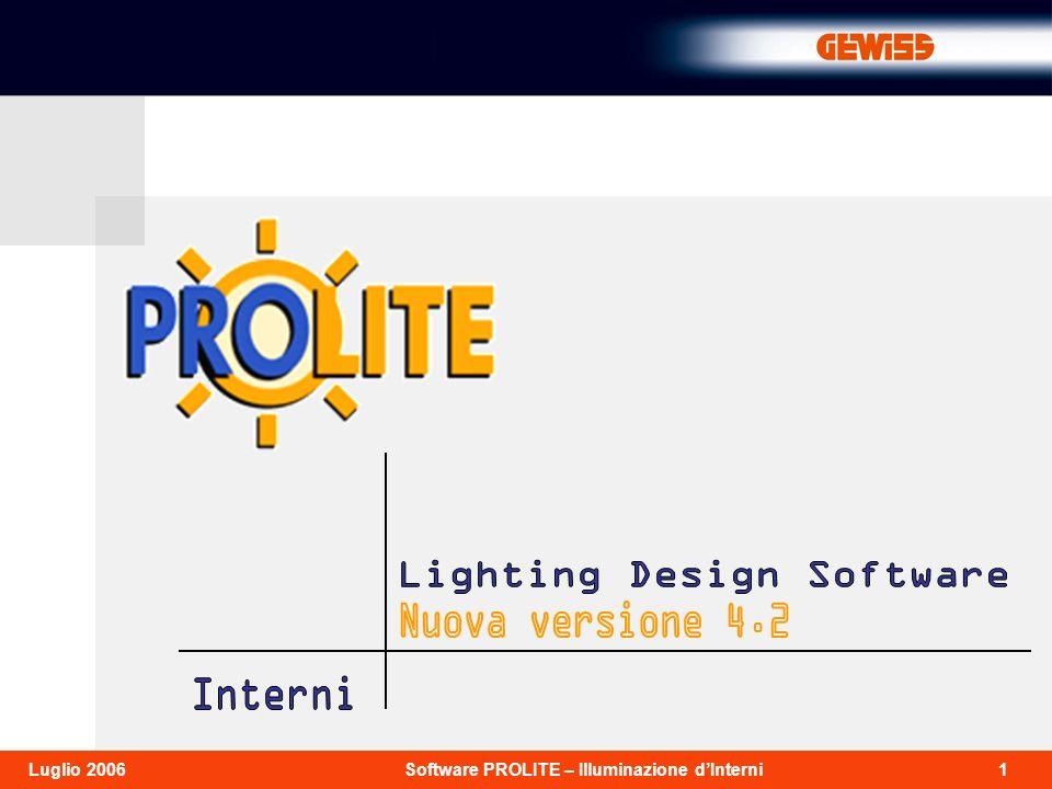 22Software PROLITE – Illuminazione dInterniLuglio 2006 Scegliere un arredo Selezionare Aggiungi arredo dal menù Arredi per accedere alla libreria.