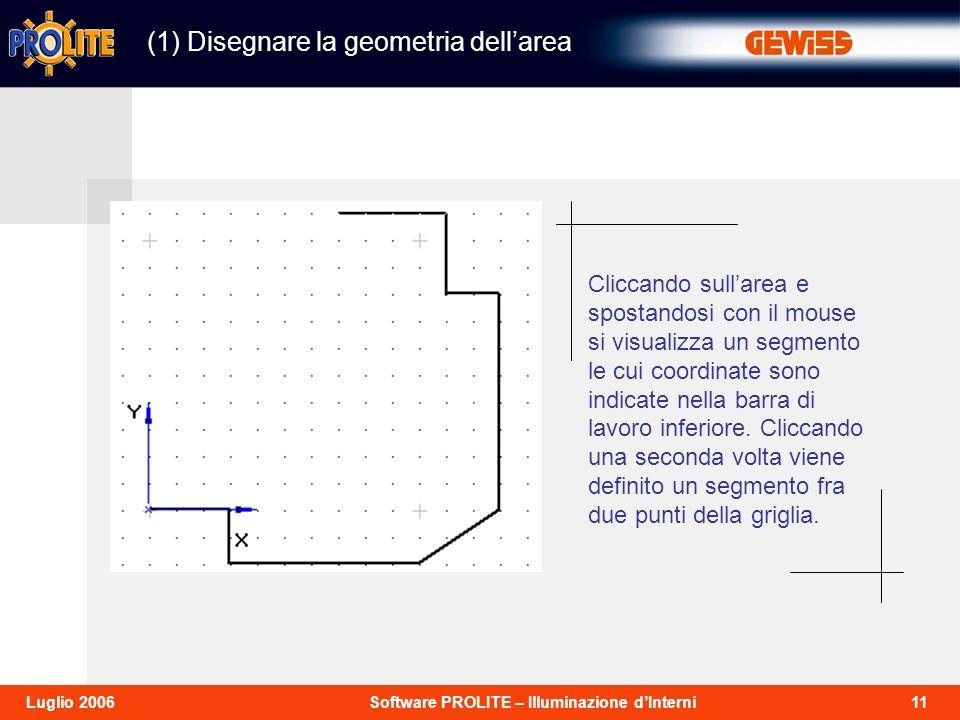 11Software PROLITE – Illuminazione dInterniLuglio 2006 (1) Disegnare la geometria dellarea Cliccando sullarea e spostandosi con il mouse si visualizza un segmento le cui coordinate sono indicate nella barra di lavoro inferiore.